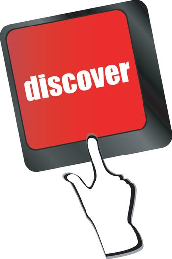 word discover on computer keyboard key vector