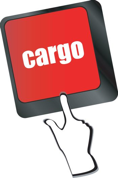 cargo word on laptop computer keyboard key vector