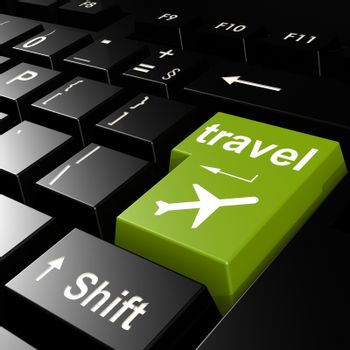 Travel with flight on green keyboard image with hi-res rendered artwork that could be used for any graphic design.