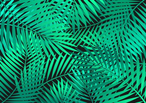 Background with green palm tree leaves.