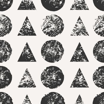 Abstract seamless pattern with stamped round and triangular shapes. Hand drawn watercolor geometric pattern.