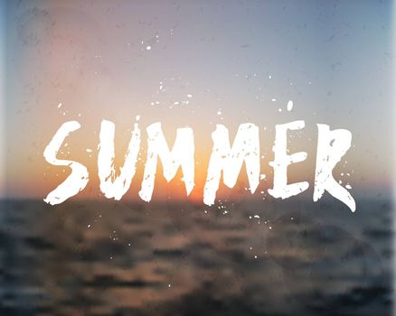 Hand drawn typographic design on a blurred summer background. EPS 10 file, gradient mesh and transparency effects used.