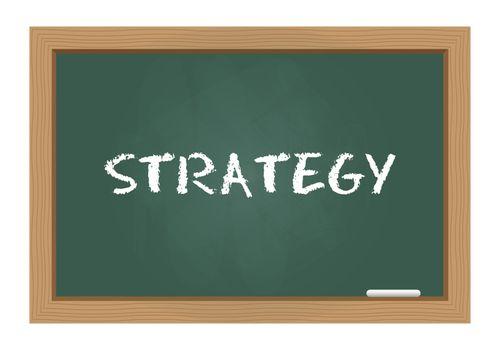 Strategy text on chalkboard