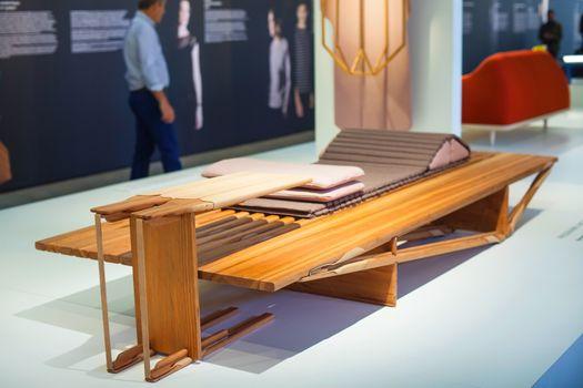 MILAN, ITALY - APRIL 16: Furniture displayed at Tortona space location of important events during Milan Design week on April 16, 2015