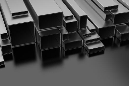 Steel Profiles on black background