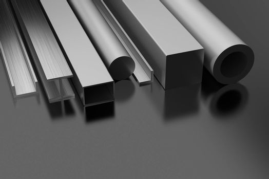 Steel Products on black background