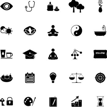 Meditation icons on white background, stock vector