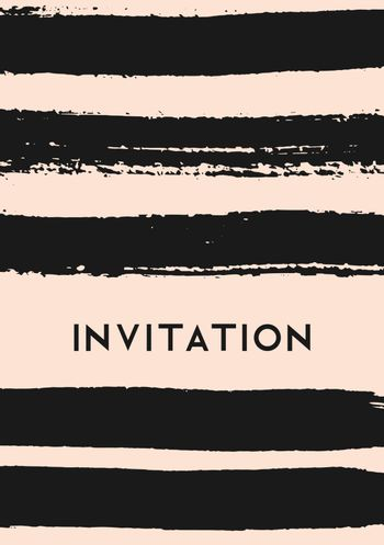 Hand drawn brush strokes invitation design. Horizontal paint stripes in black on blush pink background.