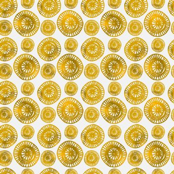 Hand drawn abstract seamless repeat pattern with ornate round shapes in golden and white.