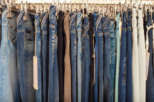 View of many denim jeans in the clothing store