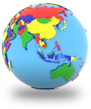 Southeast Asia on the globe