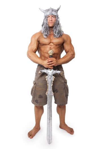 Medieval warior with sword isolated.