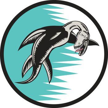 Sea Serpent Circle Woodcut