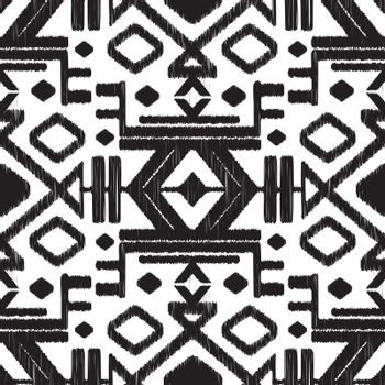 Vector abstract tribal black and white seamless pattern background graphic design