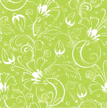 vector bright green floral seamless pattern background graphic design