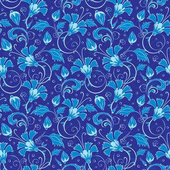 vector dark blue turkish floral seamless pattern background graphic design