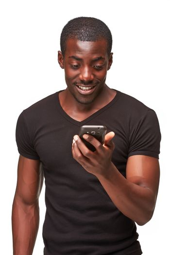 Portrait of smiling african man talking on the phone isolated on a white background