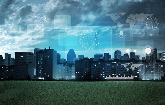 Cityscape with holographic screen