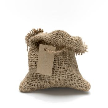 Empty burlap sack with tag