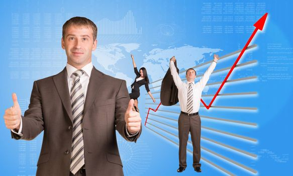 Happy business people and graphical chart on abstract blue background