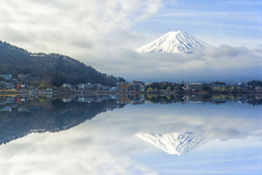 Reflection of fuji in japan