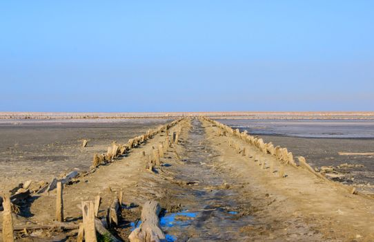 Abandoned salt production on Sivash lake also known as Rotten Se