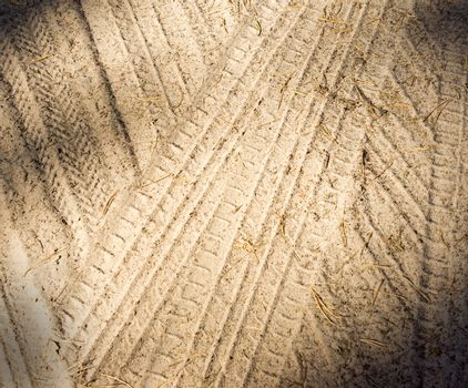 Detail of tyre tracks in sand