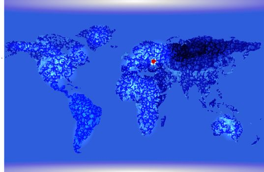 Blue Illustrated world map. Abstract texture lines