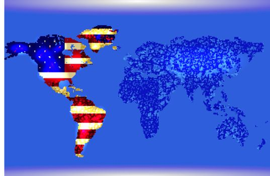 Blue Illustrated world map. Abstract texture lines. American flag