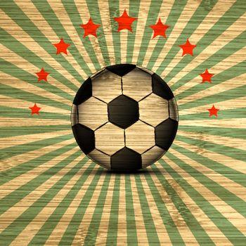 Retro Illustration football card in Brazil flag colors. Soccer ball. Vector. EPS10