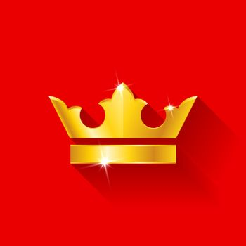 Gold crow flat style isolated on red background