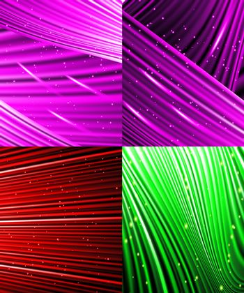 Set of Abstract luminous rays background.