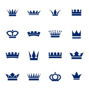Set of icons crowns isolated on white background