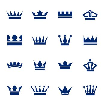 Set of icons  crowns isolated on  a white background
