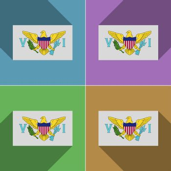 Flags VirginIslandsUS. Set of colors flat design and long shadows.