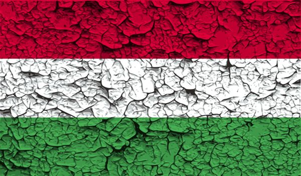 Flag of Hungary with old texture.