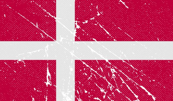 Flag of Denmark with old texture.