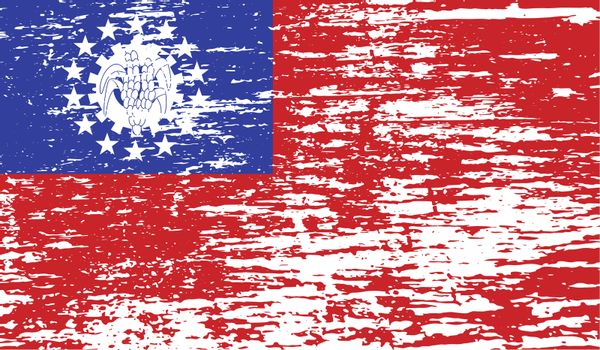 Flag of Myanmar Burma with old texture.