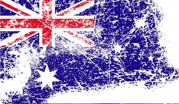 Flag of Australia with old texture.  illustration