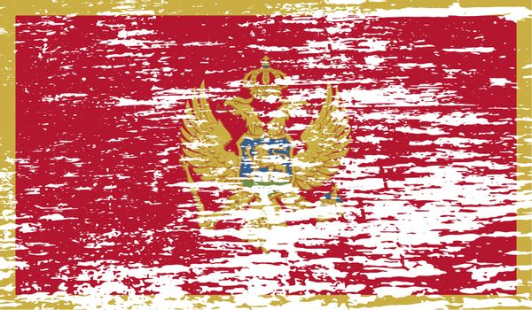 Flag of Montenegro with old texture.