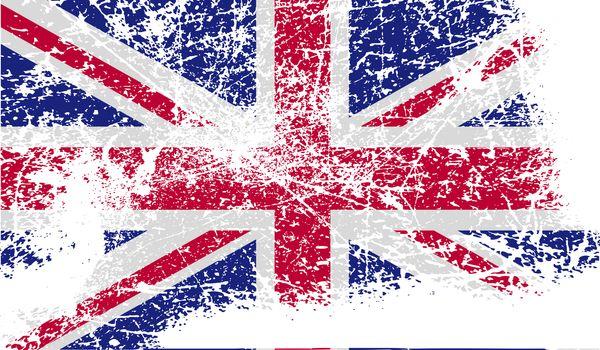 Flag of United Kingdom with old texture.  illustration