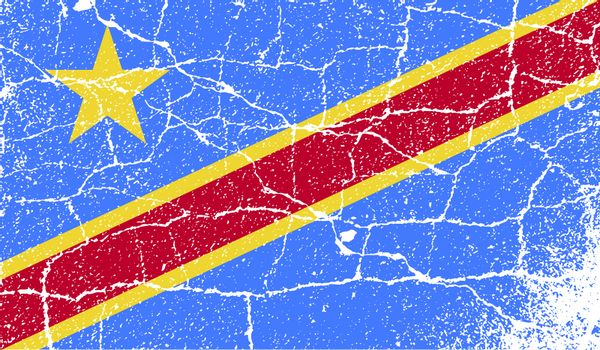 Flag of Congo Democratic Republic with old texture.
