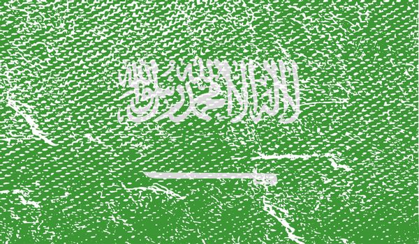 Flag of Saudi Arabia with old texture.