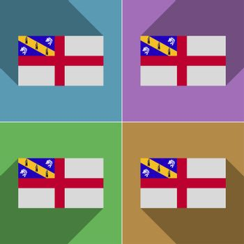 Flags Herm. Set of colors flat design and long shadows.