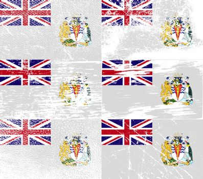 Set of six flags British Antarctic Territory with old texture.