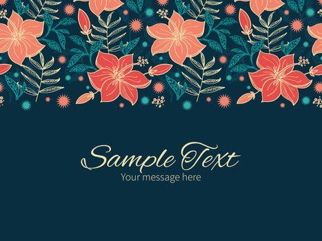 Vector vibrant tropical hibiscus flowers horizontal border greeting card invitation template graphic design
