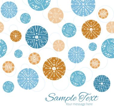Vector abstract blue brown vintage circles back horizontal border card template graphic design