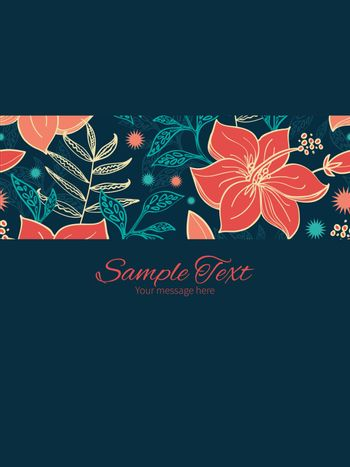 Vector vibrant tropical hibiscus flowers stripe frame vertical card invitation template graphic design