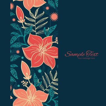 Vector vibrant tropical hibiscus flowers vertical frame seamless pattern background graphic design