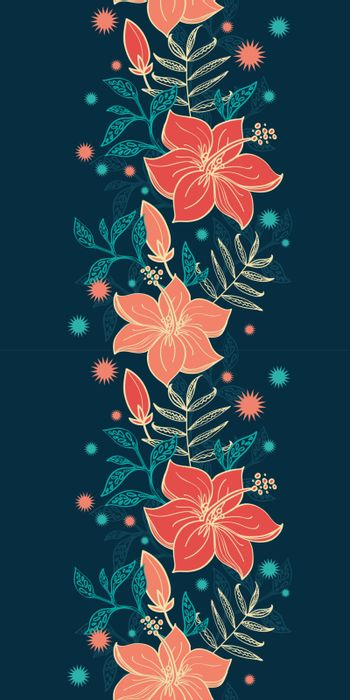 Vector vibrant tropical hibiscus flowers vertical border seamless pattern background graphic design